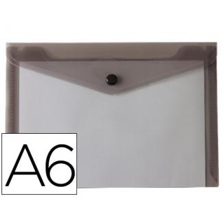 Liderpapel DS60 - Dossier con broche, A6, 180 micras, capacidad para 50 hojas, color negro transparente