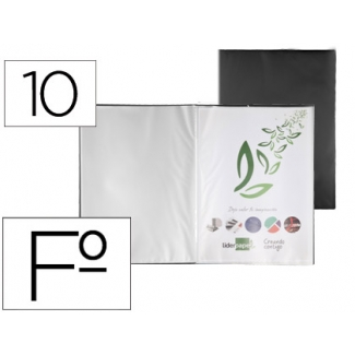 Liderpapel EC41 - Carpeta con fundas, tapa flexible, folio, 10 fundas, color negro