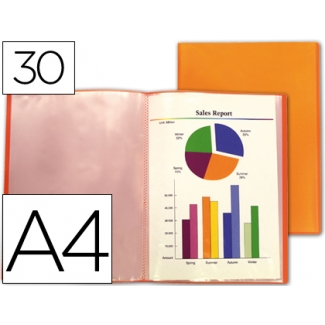 Carpeta Liderpapel escaparate 30 fundas polipropileno traslucida tamaño A4 color naranja frosty