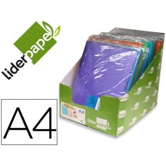 Carpeta Liderpapel escaparate 30 fundas polipropileno traslucidas tamaño A4 colores surtidos