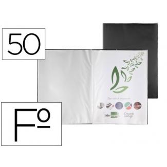 Liderpapel EC44 - Carpeta con fundas, tapa flexible, folio, 50 fundas, color negro