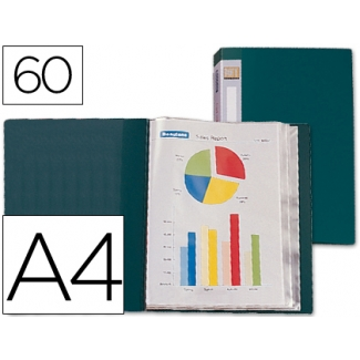 Carpeta Liderpapel escaparate 60 fundas polipropileno tamaño A4 color verde lomo personalizable