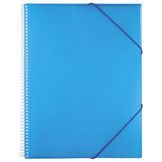 Liderpapel EC45 - Carpeta con fundas, encuadernada con espiral, tapa rígida, A5, 20 fundas, color azul