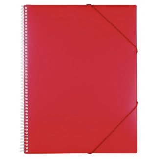 Liderpapel EC47 - Carpeta con fundas, encuadernada con espiral, tapa rígida, A5, 20 fundas, color rojo