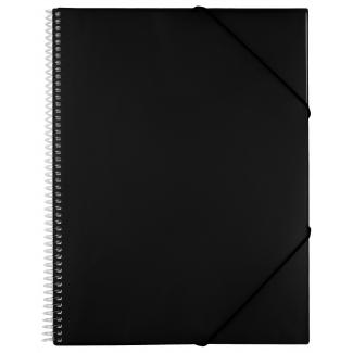 Liderpapel EC33 - Carpeta con fundas, encuadernada con espiral, tapa rígida, A4, 50 fundas, color negro