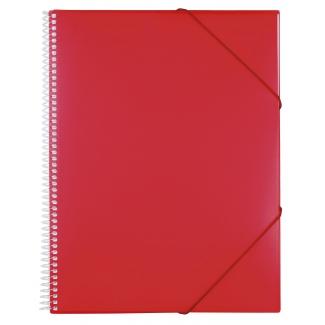 Liderpapel EC18 - Carpeta con fundas, encuadernada con espiral, tapa rígida, A4, 50 fundas, color rojo