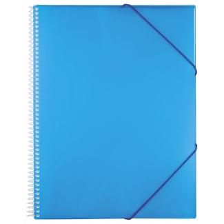 Liderpapel EC21 - Carpeta con fundas, encuadernada con espiral, tapa rígida, A4, 60 fundas, color azul