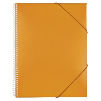 Carpeta Liderpapel escaparate con espiral 60 fundas polipropileno tamaño A4 color naranja