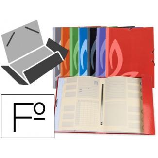 Carpeta Liderpapel gomas cartón forrado clasificadora tamaño folio 7 colores surtidos