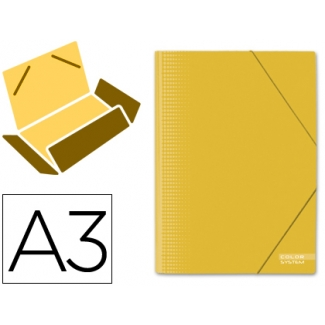 Carpeta Liderpapel gomas cartón plastificado solapas tamaño A3 color amarillo