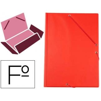 Liderpapel CG82 - Carpeta de plástico con gomas, con tres solapas, lomo flexible, tamaño folio, color rojo