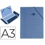 Carpeta Liderpapel gomas tamaño A3 3 solapas cartón prespan color azul