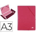 Carpeta Liderpapel gomas tamaño A3 3 solapas cartón prespan color roja