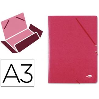 Liderpapel CG18 - Carpeta de cartón con gomas, con tres solapas, tamaño A3, color rojo