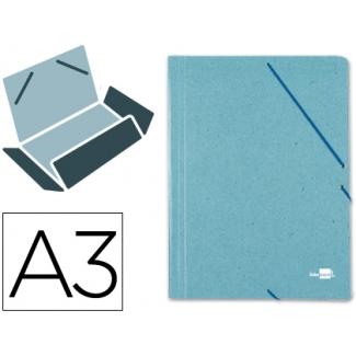 Liderpapel CG19 - Carpeta de cartón con gomas, con tres solapas, tamaño A3, color verde