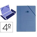 Carpeta Liderpapel gomas tamaño cuarto 3 solapas cartón compacto color azul