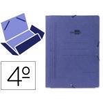 Carpeta Liderpapel gomas tamaño cuarto 3 solapas cartón pintado color azul