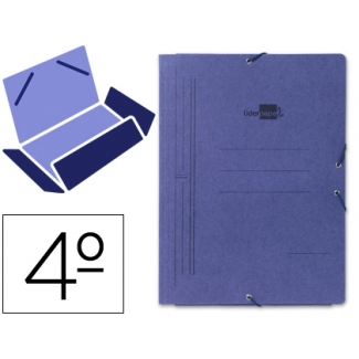 Liderpapel CG07 - Carpeta de cartón con gomas, con tres solapas, tamaño cuarto, color azul