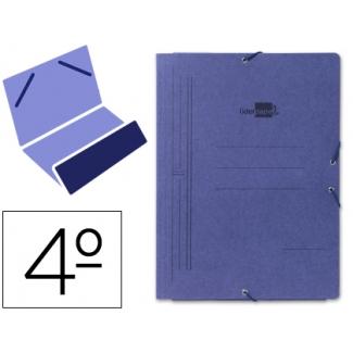 Carpeta Liderpapel gomas tamaño cuarto bolsa cartón pintado azul
