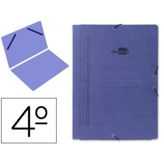 Liderpapel CG04 - Carpeta de cartón con gomas, sin solapas, tamaño cuarto, color azul
