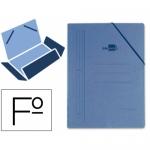 Carpeta Liderpapel gomas tamaño folio 3 solapas cartón compacto color azul