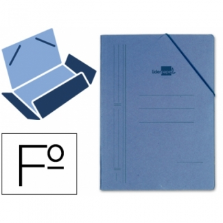 Liderpapel CG15 - Carpeta de cartón con gomas, con tres solapas, tamaño folio, color azul