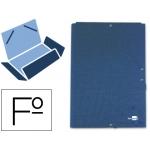 Carpeta Liderpapel gomas tamaño folio 3 solapas cartón forrado color azul