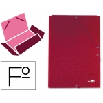 Carpeta Liderpapel gomas tamaño folio 3 solapas cartón forrado color roja
