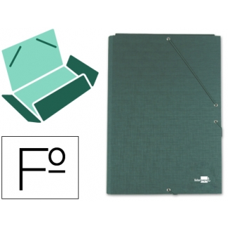 Carpeta Liderpapel gomas tamaño folio 3 solapas cartón forrado color verde