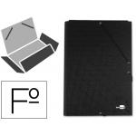 Carpeta Liderpapel gomas tamaño folio 3 solapas cartón forrado negra