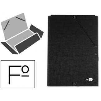 Liderpapel CS09 - Carpeta de cartón con gomas, con tres solapas, tamaño folio, color negro