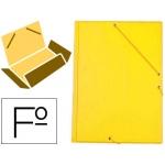 Carpeta Liderpapel gomas tamaño folio 3 solapas cartón forrado pvc color amarillo