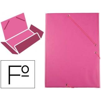 Carpeta Liderpapel gomas tamaño folio 3 solapas cartón forrado pvc color fucsia