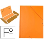 Carpeta Liderpapel gomas tamaño folio 3 solapas cartón forrado pvc color naranja