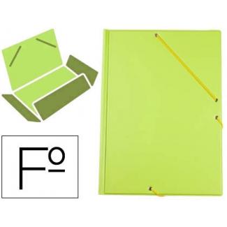 Carpeta Liderpapel gomas tamaño folio 3 solapas cartón forrado pvc color verde