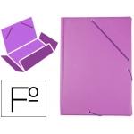 Carpeta Liderpapel gomas tamaño folio 3 solapas cartón forrado pvc color violeta