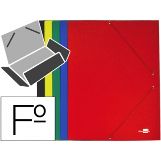 Carpeta Liderpapel gomas tamaño folio 3 solapas cartón plastificado colores surtidos