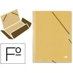 Carpeta Liderpapel gomas tamaño folio 3 solapas cartón prespan amarilla
