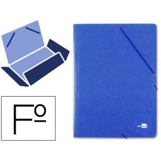 Carpeta Liderpapel gomas tamaño folio 3 solapas cartón prespan color azul