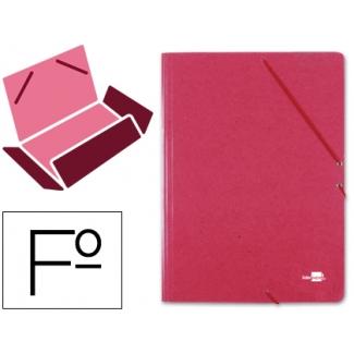Carpeta Liderpapel gomas tamaño folio 3 solapas cartón prespan color roja