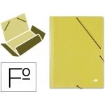 Carpeta Liderpapel gomas tamaño folio 3 solapas cartón simil prespan amarilla