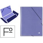 Carpeta Liderpapel gomas tamaño folio 3 solapas cartón simil prespan color azul