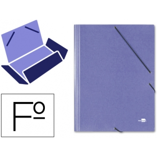Liderpapel CG33 - Carpeta de cartón con gomas, con tres solapas, tamaño folio, color azul