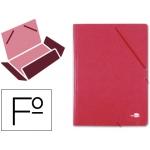 Carpeta Liderpapel gomas tamaño folio 3 solapas cartón simil prespan color roja