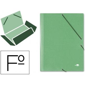 Carpeta Liderpapel gomas tamaño folio 3 solapas cartón simil prespan color verde