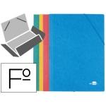 Carpeta Liderpapel gomas tamaño folio 3 solapas cartón simil prespan colores surtidos pack 4