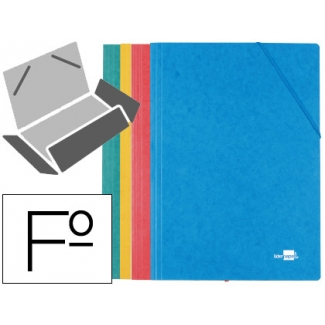 Liderpapel CG37 - Carpeta de cartón con gomas, con tres solapas, tamaño folio, pack de 4,colores surtidos