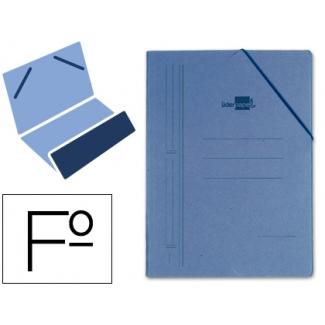 Liderpapel CG13 - Carpeta de cartón con gomas, con una solapa, tamaño folio, color azul