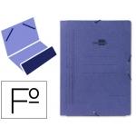 Carpeta Liderpapel gomas tamaño folio bolsa cartón pintado azul