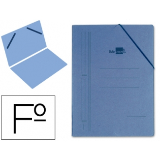 Carpeta Liderpapel gomas tamaño folio sencilla cartón compacto color azul